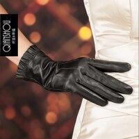 Genuine Leather Gloves Women S Thermal Winter Fashion Short Design Lotus Leaf Lace Sheepskin Gloves Real