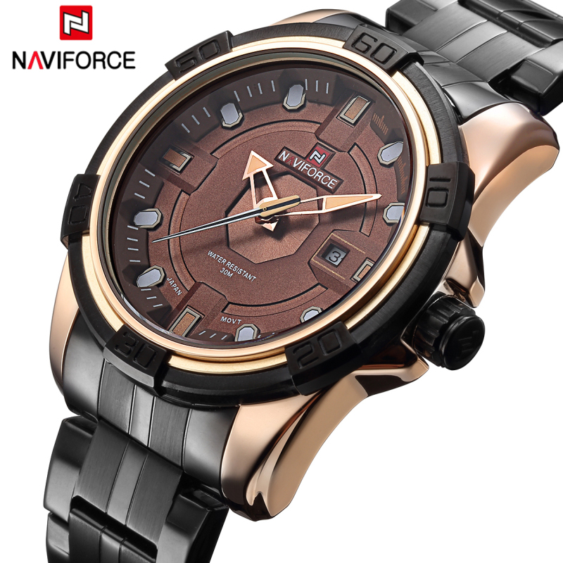 NAVIFORCE Top Brand Watches Men Full Steel Sport Army Military Watch Men's Quartz Hour Clock Male Wrist Watch relogio masculino new fashion mens watches gold full steel male wristwatches sport waterproof quartz watch men military hour man relogio masculino