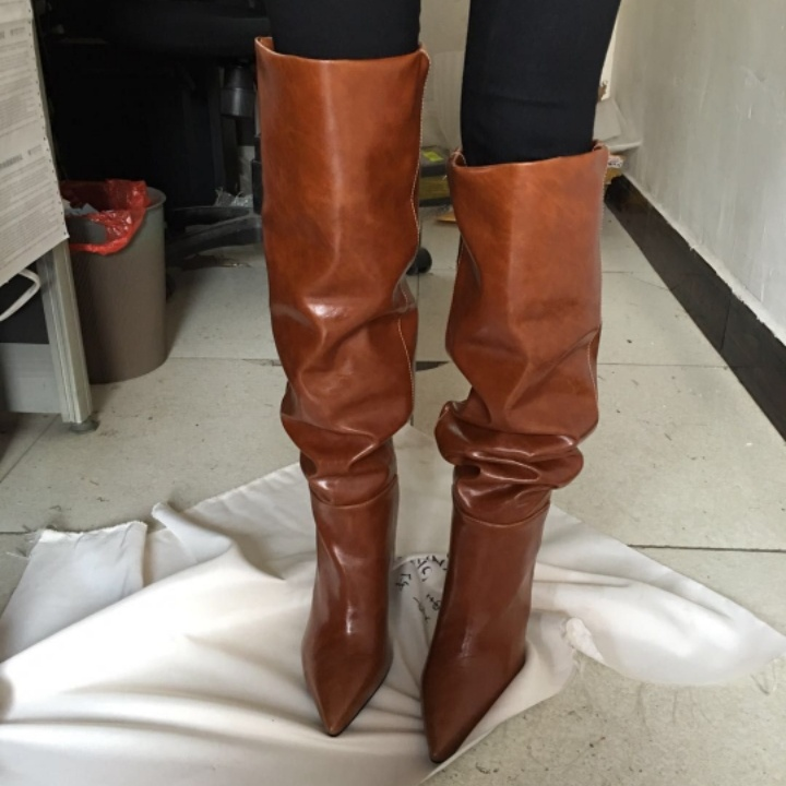 afff600219f Hot Autumn Winter Shoes Woman Pleated Knee High Slouchy Boots Pointed Toe  Sexy Spike Heels Woman Runway Stage Boots Plus Size -in Knee-High Boots  from Shoes ...