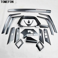 TOMEFON 17PCS For Toyota RAV4 RAV 4 2014 ABS Carbon Fiber Paint Front Dash Board Air Vent Panel Inner Door Interior Accessories