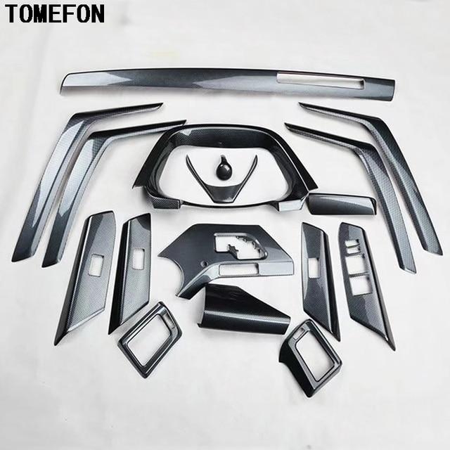 TOMEFON 17PCS For Toyota RAV4 RAV 4 2014 ABS Carbon Fiber Paint Front Dash  Board Air