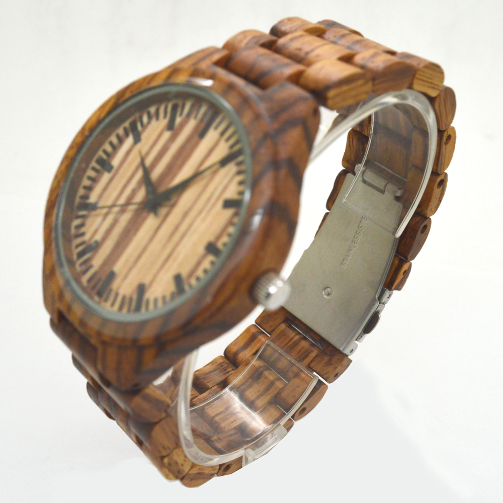 Montre homme 2016 mens zebra sandal wood watches bamb @