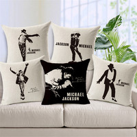 Michael Jackson Print Cushion Covers For Sofa 45 45cm Cotton Linen Decorative Throw Pillow Cases For
