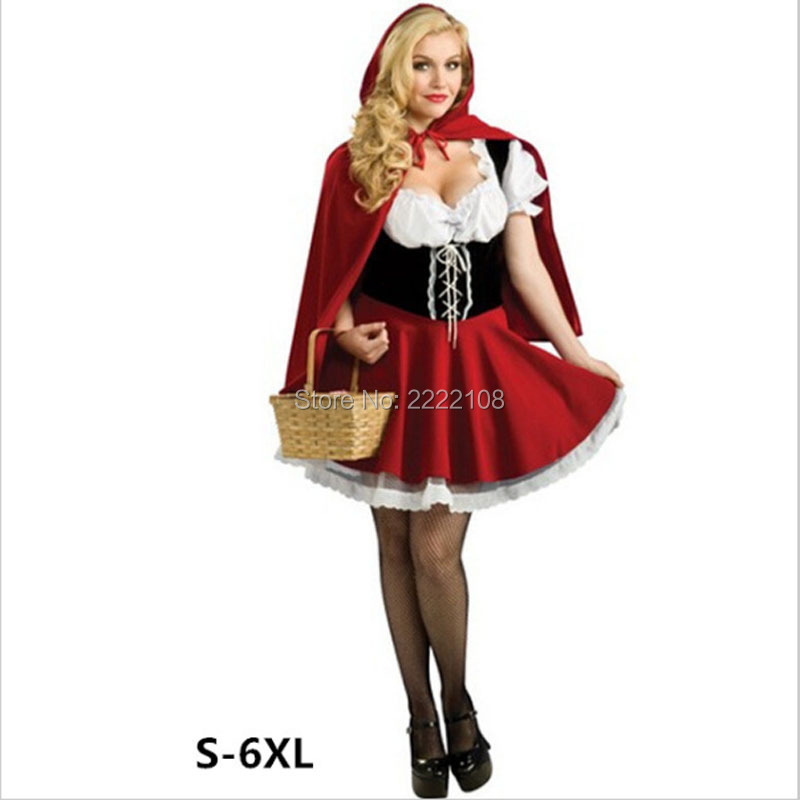Little Red Ridin Halloween Costume For Women Sexy cosplay Little Red Riding Hood Fantasy Game Uniforms Fancy Dress Outfit S-4XL