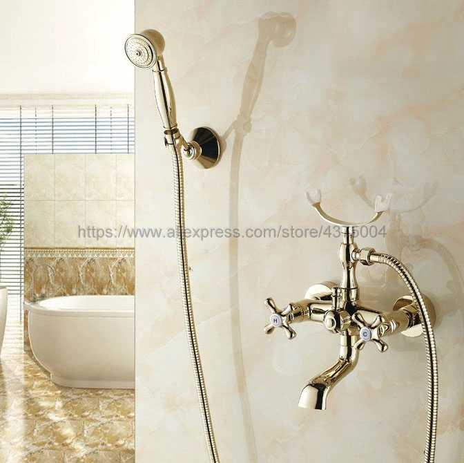 の豪華ゴールド真鍮ウォールマウント浴室のシャワーの蛇口電話バス蛇口タップすると Ntf133