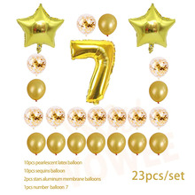 Seven year old Gold Balloon Champagne Number Birthday Balloons Party Decoration Happy children