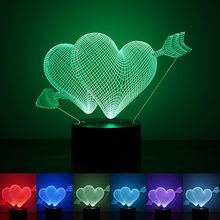 Valentines day Gift 3D Lamp LED Night Light 7 Colors Table Lampe Deco Bulb Touch Sensor luminarias fixtures lamparas veilleuse