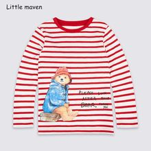 Little maven children brand baby boys clothes 2018 autumn new boys cotton long sleeve O-neck red striped bear t shirt 51132(China)