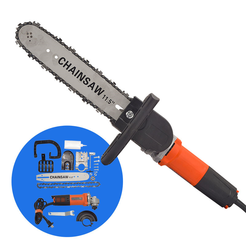 220V 800W 11.5 Inch Chainsaw Bracket Changed Electric Angle Grinder Chain Saw Woodworking Cutting Power Tool Set