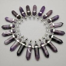 Модные подвески и ожерелья из натурального камня с фиолетовым кристаллом в форме столба для изготовления ювелирных изделий Очаровательные аксессуары 50 шт./лот оптовая продажа