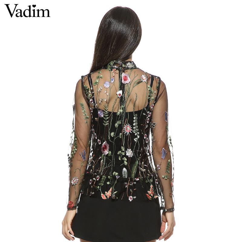 HTB1UWE3QVXXXXc5XpXXq6xXFXXXI - Women sweet flower embroidery mesh shirts sexy transparent