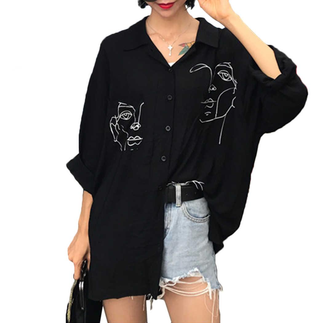 e06ac073dc23 Line Face Print Retro Women s Tops And Blouses Summer Cotton White Black  Shirts Ladies Long Sleeved