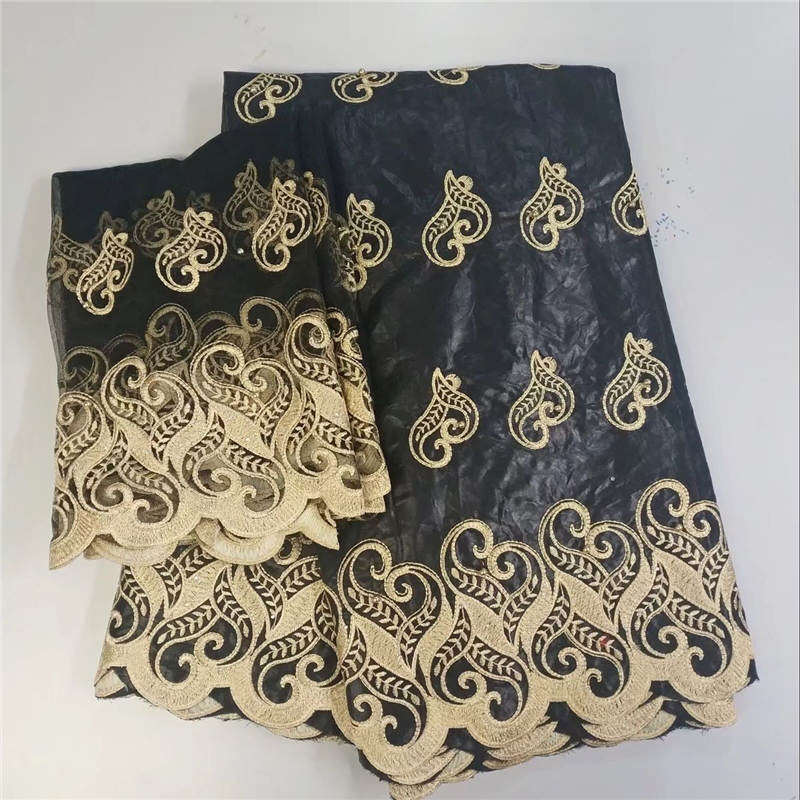 High Quality Guinea Brocade Fabric Cotton African Bazin Lace with 2yards tulle blouse matching Black color Bazin lace setHigh Quality Guinea Brocade Fabric Cotton African Bazin Lace with 2yards tulle blouse matching Black color Bazin lace set
