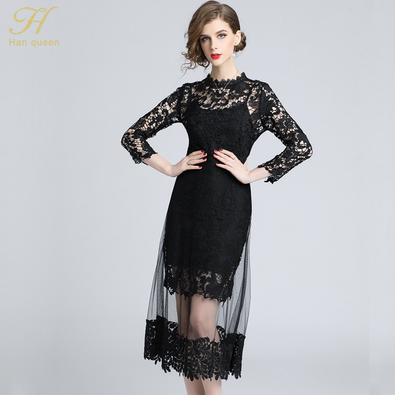 336478c5a92fe ... H Han Queen Autumn Mesh Patchwork Lace Dress Women O-neck Work Casual  Party Slim ...