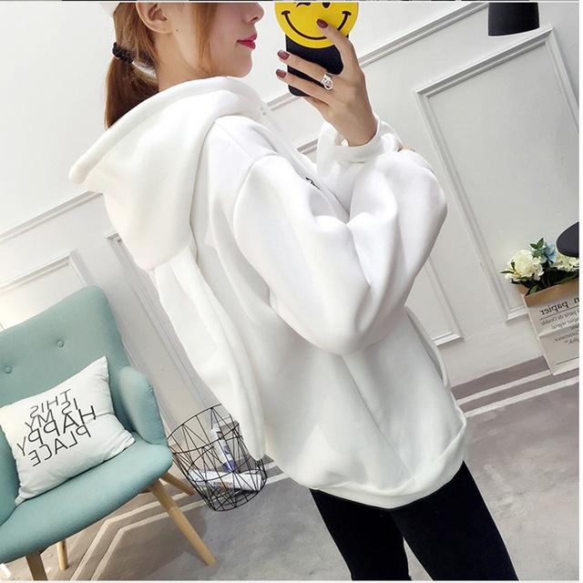 2018 New Autumn and Winter Women Hoodies Harajuku Cute Bunny Ear Hooded Print Hoodies Fashion Loose Plus Size Sweatshirt