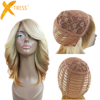 Ombre Blonde Brown Straight Layered Wig With Bangs X TRESS Short Side Part Synthetic Wigs For Women High Temperature Fiber Hair