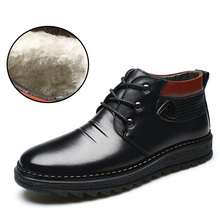 2017 Genuine Leather Snow Boots for Men Casual Short Plush Ankle Boots Winter Man Anti-skid Lace Up Shoes Black Brown bot botas
