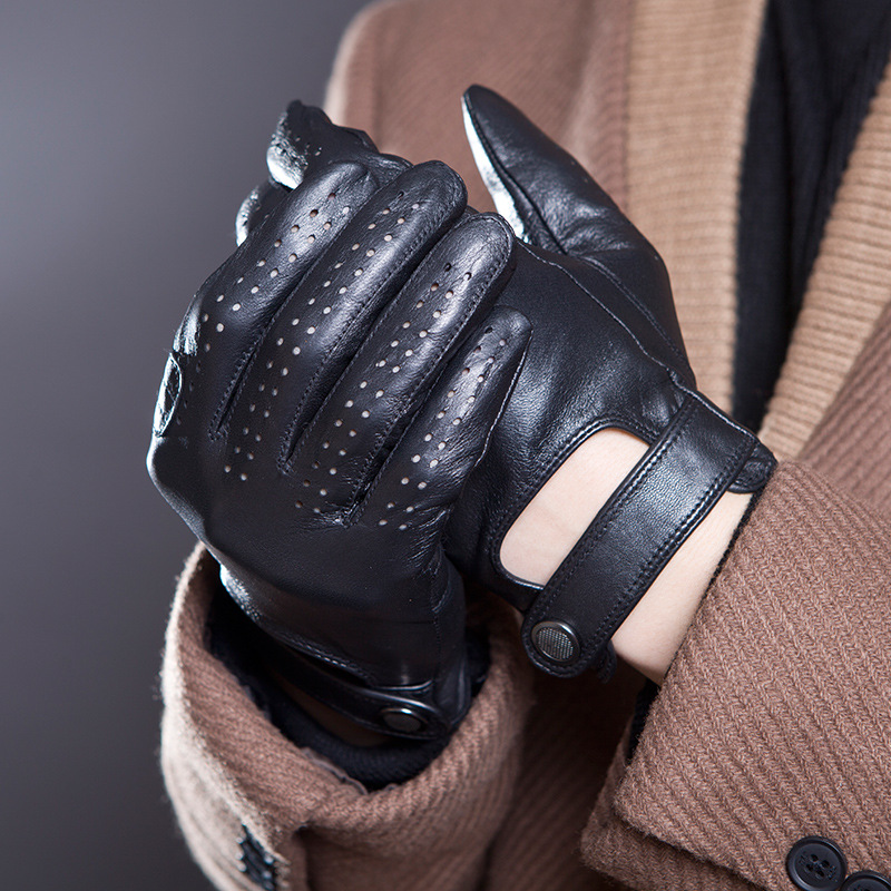 2018 Men Black Genuine Leather  Gloves Fashion Casual Breathable Sheepskin Glove Five Fingers Male Driving Leather Gloves  14-5
