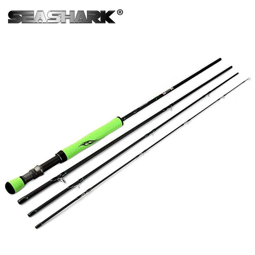 SEASHARK 7-8# Fly Fishing Rod 4 SEC Medium Fast Action Carbon Fiber 9' Fishing Rods UL 130g 2.7m Fly Rod hard chrome ring high quality 2 43m fly fishing 4 sections portable 66cm ultralight carbon fishing rod medium fast action fly rod tenkara fr166