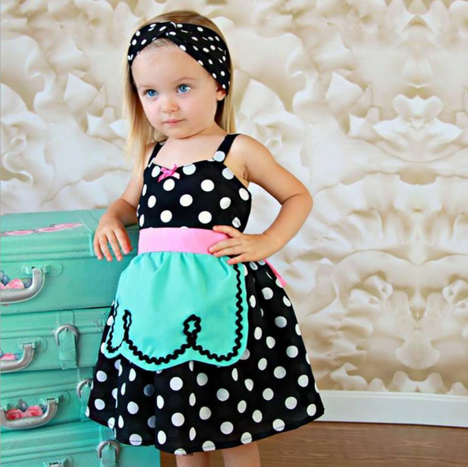 2018 summer girls dress Black and white polka dot dresses Waist ...