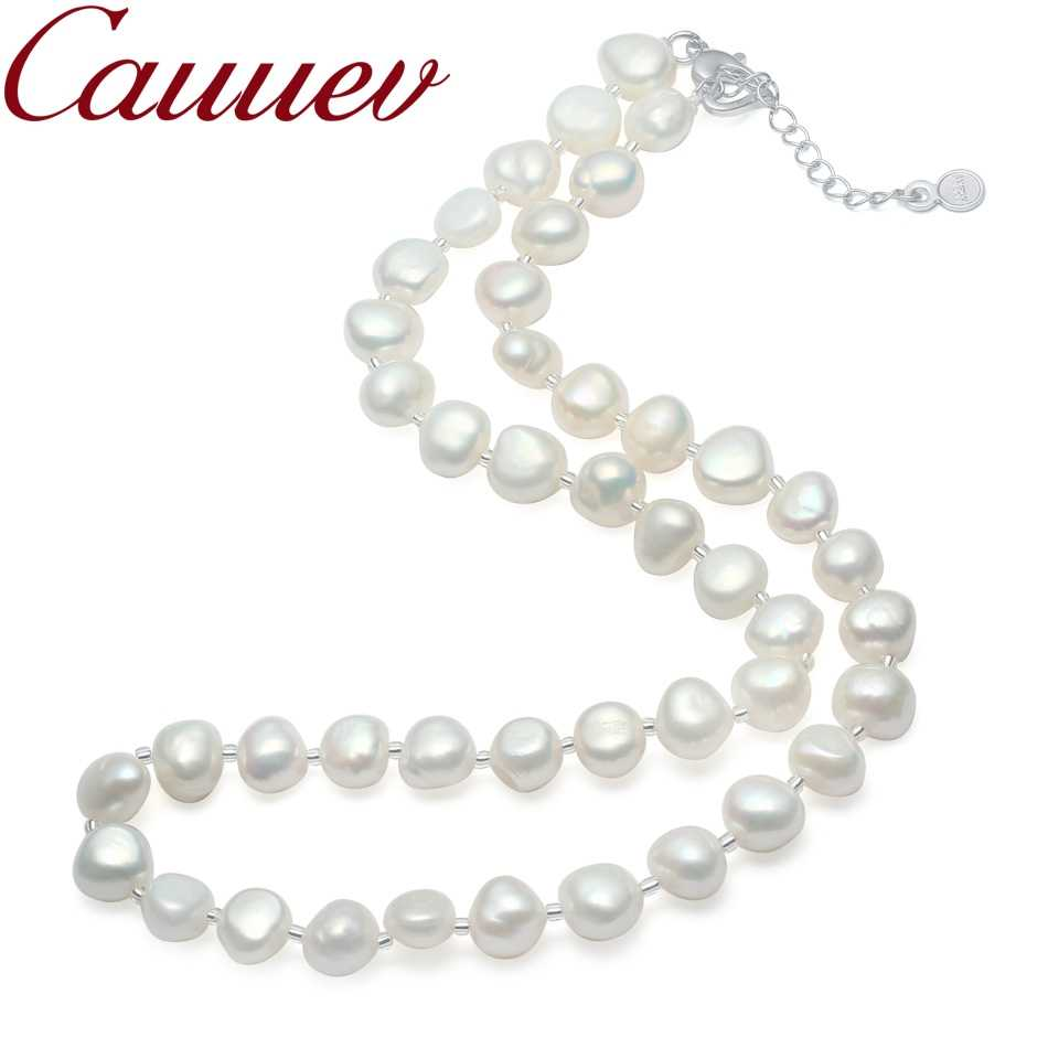 Cauuev Real Natural Freshwater Baroque Pearl Necklace For Women 9-10mm  Pearl Jewelry with 925 Sterling Silver Jewelry Gift