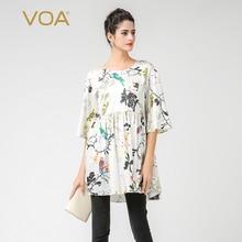 VOA Women's Silk White Floral Print Half Sleeve Tent Blouse Shirt B7361