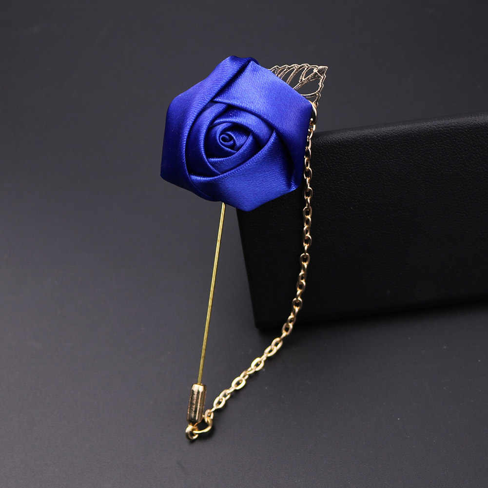 Pria Baru Sesuai dengan Daun Emas Mawar Bros Korsase Bunga Panjang Jarum dengan Rantai Buatan Tangan Lapel Pin Bros