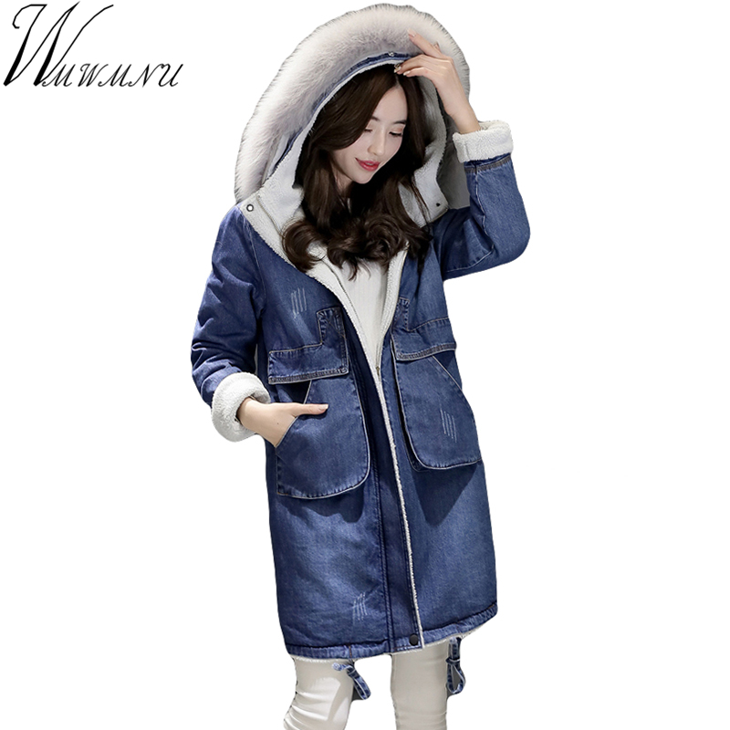 Wmwmnu 2017 New arrival Fox Fur Hooded Thick Warm Long Denim Parkas Blue Color Cold Winter Jacket women The Lambs Coat Women 2017 winter new clothes to overcome the coat of women in the long reed rabbit hair fur fur coat fox raccoon fur collar
