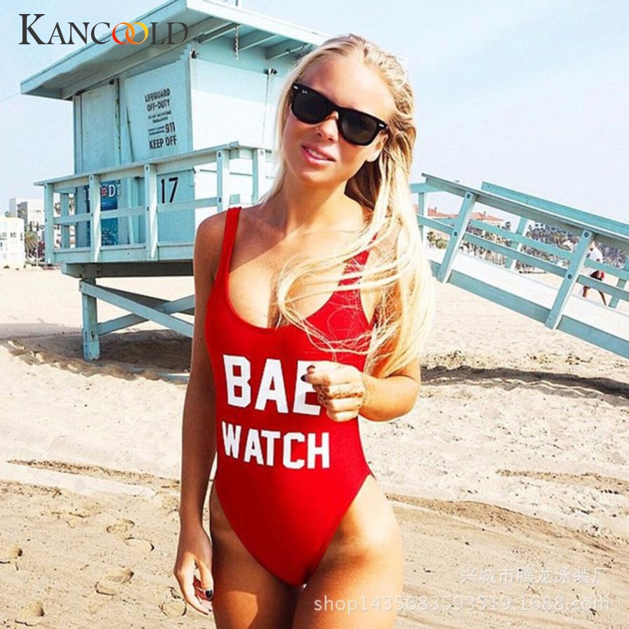 2017 Elegant Women Sexy Backless BAE WATCH Swimsuit Bodysuit Beachwear Swimwear Bathing Suit Hot Sale July0720