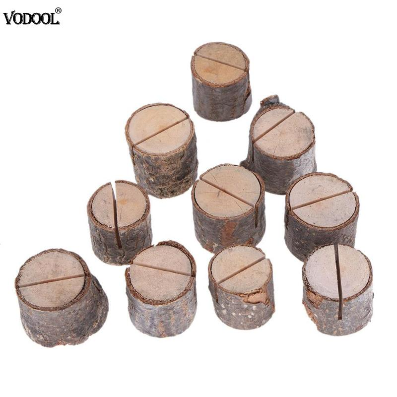 10pcs/lot Wood Pile Name Place Card Photo Menu Holder Table Natural Tree Stump Shape Number Clip Stand Party Wedding Decoration(China)
