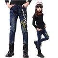 Новорожденных девочек брюки дети джинсы весна красивая вышивка длинные брюки для девочек брюки карандаш для девочек горячей продажи 7-15Y