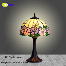 FUMAT Stained Glass Table Lamp European Style Bedside Lamp Art Glass Shade  Living Room Stand Lampe LED Warm White Table Lights