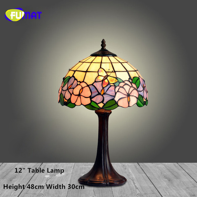 Charming FUMAT Stained Glass Table Lamp European Style Bedside Lamp Art Glass Shade  Living Room Stand Lampe