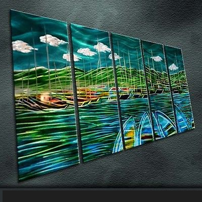 Modern Original Art Metal Art Original Handmade Large Indoor in 5 pieces