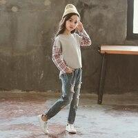 Girls Suits Spring Teenage Clothing Sets Children's Clothes Cotton Shirts Plaid Blouse Upper Garments+Denim Pant Jeans Trousers