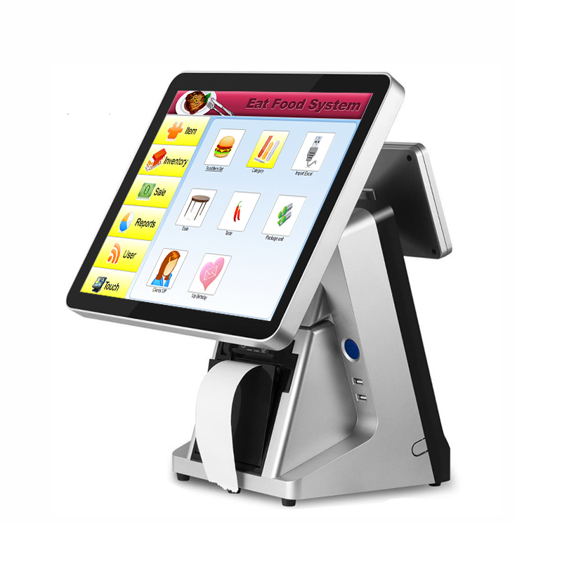 Free shipping Newest 15 inch touch screen pos machine built-in 80mm printer touch pos system with vfd customer display POS1520 new stock cheap pos system 15 inch capacitive multi touch screen cash register restaurant with english vfd customer display