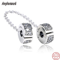 New Collection Good Quality CZ Paving 925 Sterling Silver Clip Safe Chain Fitting European Famous Silver Charm Bracelet