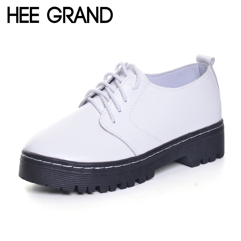 HEE GRAND 2017 Brogue Shoes Lace-Up Platform Oxfords Shoes Woman Casual PU Patent Leather Creepers Spring Fashion Flats XWD6039 women oxfords flats shoes leather lace up platform shoes woman 2016 brand fashion female casual white creepers shoes ladies 801
