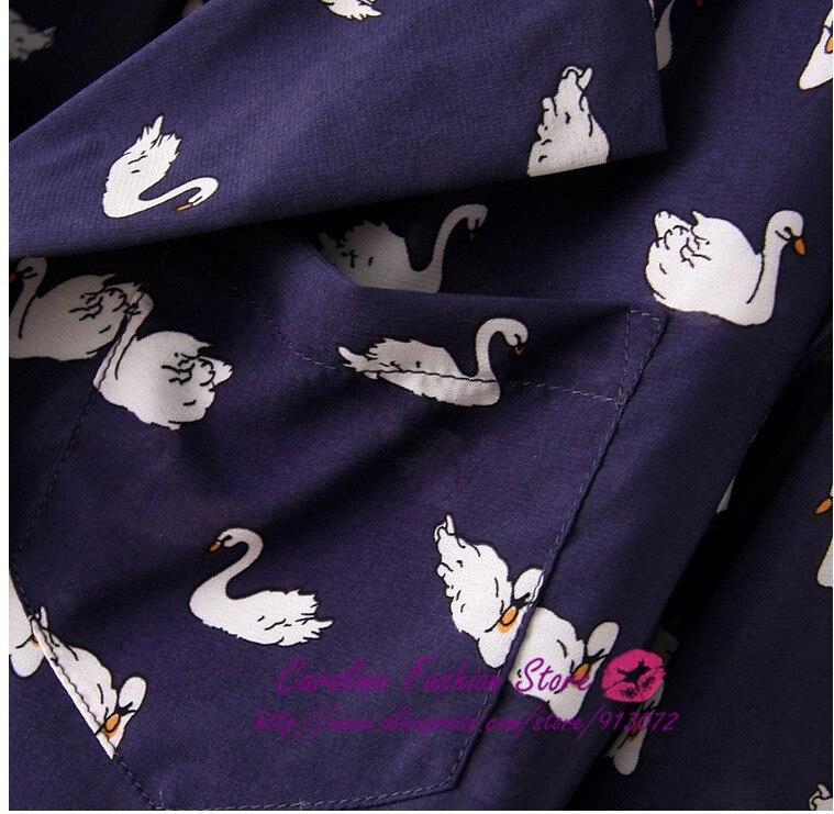 bb22f50415675b ST708 womens' blue cute swan animal print blouse shirt long sleeve Turn-down  collar