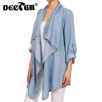 2017 New Long Sleeve Women Denim Blouse Loose Jeans Shirt Kimono Cardigans Women Tops Casual Long