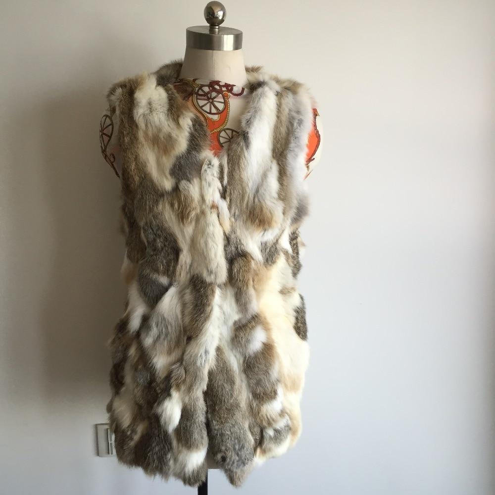 Free shipping New Sprint Female Real Rabbit fur vest Women Genuine Natural Rex Rabbit Fur Coat