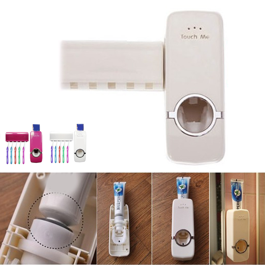 1 set Tooth Brush Holder Automatic Toothpaste Dispenser + 5 Toothbrush Holder Wall Mount Stand Bathroom Tools Suporte Tooth image
