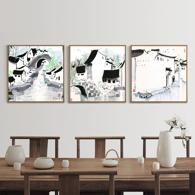 Wu Guanzhong Home Modern Abstract Black White Chinese Ink Canvas Paintings Minimalist Poster