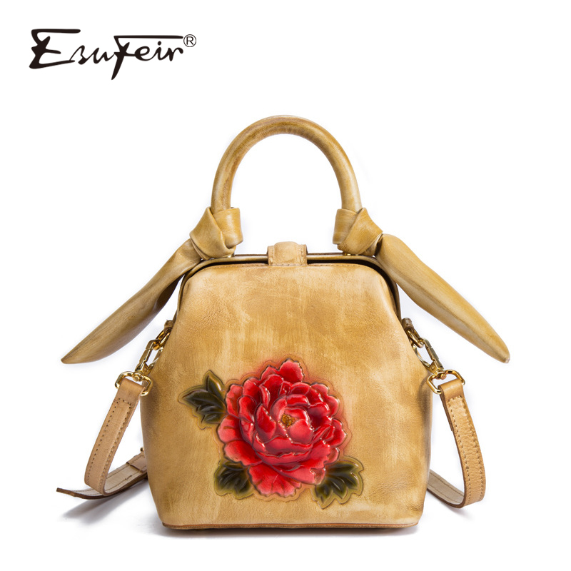 2018 ESUFEIR Fashion Design Women Flap Bag Cow Leather Handbag For Women Vintage Flowers Satchels Pattern Women Messenger Bag bathroom accessory antique brass wall mounted copper toilet paper roll holder free shipping aba037