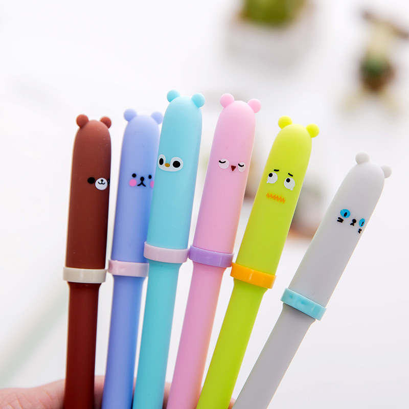 4pcs/lot Cute Cartoon Animal Expression Gel Pen Student Writing Signature Pen Black Ink Office Stationery Supplies