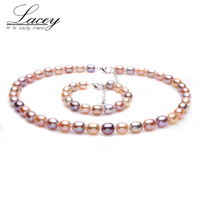 Bridal freshwater pearl jewelry sets women ,real natural pearl sets jewelry wife trendy bracelet necklace party gifts multi