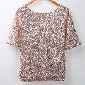 Estilo de Lentejuelas de verano T Camisa de Las Señoras Off-hombro Relucir Camisa Tops Blusas Tee Casual Tamaño S-XL Envío Gratis