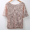 Summer Style Sequin T Shirt Ladies Off-shoulder Glistening Shirt Tops Blouses Casual Tee Size S-XL Free Shipping