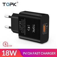 TOPK 18 Вт Quick Charge 3,0 быстрое зарядное устройство USB для iPhone samsung Xiaomi huawei Путешествия стены ЕС Plug мобильный телефон зарядное устройство адаптер