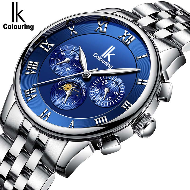 Genuine Luxury IK colouring Brand Men Self-wind waterproof full steel automatic mechanical male Luminous fashion watch montre ik colouring brand mechanical hand wind clock nail scale hollow back cover luminous hardlex full steel business men s watch